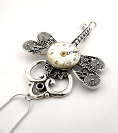 Skeleton Key Dragonfly Necklace    Clockwork by SteamSect on Etsy, $47.18