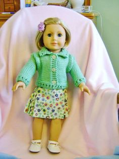 Doll clothes/ HANDMADE /Skirt/Sweater Set /Fits American Girl 18 inch Dolls