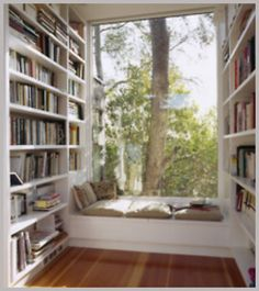 Bookshelves. I don't think I would ever leave that spot but I really want an area like this in my home, someday, someday.