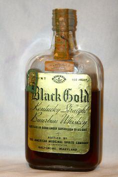 Black Gold Kentucky Straight Bourbon Whiskey – Made 1917 – Bottled 1933