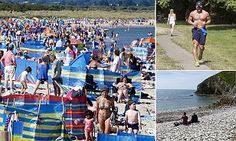 Beaches were packed as sunseekers flocked to the seaside to enjoy the weather. But forecasters say next week will be 'noticeably cooler', with temperatures in the South dropping to the high teens.