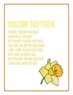 preschool song daffodil Preschool Poems, April Preschool, Preschool Music, Kids Poems, Preschool Curriculum, Preschool Printables, Preschool Activities, Children Songs, Poems About School