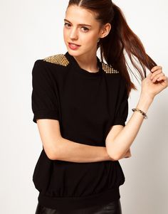short sleeve and studded