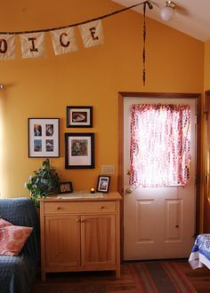 living room I like the wall color, it makes u feel happy