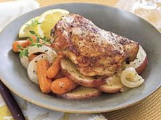 Slow Cooker Chicken Thighs, with Carrots, Onions & Potatoes Recipe. I added some Herbs de Provence