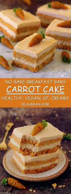 No-bake carrot cake bars for breakfast or dessert. These healthy bars are vegan, gluten-free, refined sugar-free, easy to make, and very creamy. They contain healthy carbs, protein, and fat. Perfect for Easter but they taste great on every other day as well.