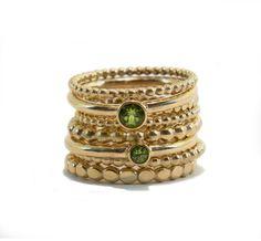 Dot rings 14k gold, peridot rings, Sier Raad Foru