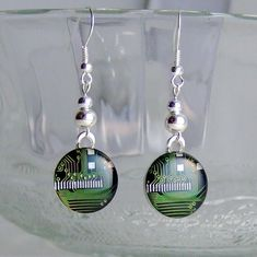 Circuit Board Dangle Earrings  Elegant  by Techcycled on Etsy, $50.00