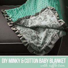 DIY Tutorial: DIY Baby Blankets / DIY Sew a Minky and Cotton Blanket | #Baby #Blanket #Blankets #Cotton #Minky #tutorial