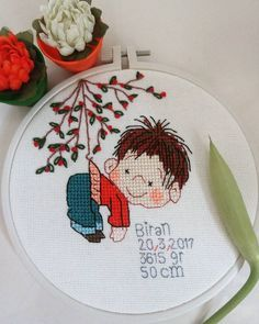 Diy Art, Decorative Plates, Cross Stitch, Embroidery, Tableware, Baby, Handmade, Ideas, Home Decor