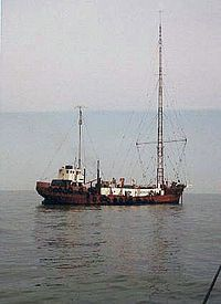 The MV Mi Amigo c. 1974 which had been used as the home of Radio Caroline South from 1964-1968 and 1972-1980