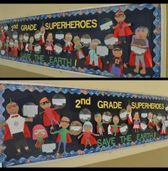 2nd grade superheroes for Earth Day.  from Bulletin Board Ideas for Elementary School Teachers