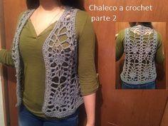 Chaleco a crochet con  piñas (parte 2) - YouTube