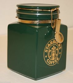 Hey Starbucks coffee fans, check out this awesome Green Coffee Tea Canister with Gold Mermaid SIREN Logo from BEEHOUSE Japan NICE! #Starbucks #BeeHouse #Coffee