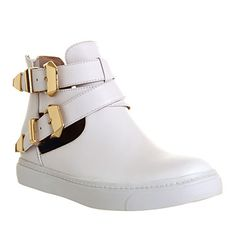 Jeffrey Campbell Orbison Cut Out Sneaker White Leather Gold Buckle - Flats