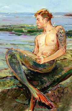 Claire Fletcher Artist. I think this is the only male mermaid I like so far that doesn't look silly. Somehow the mermen always look off to me.