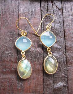 Labradorite Earrings 18k Gold Vermeil Gemstone Earrings by Belesas, $46.99