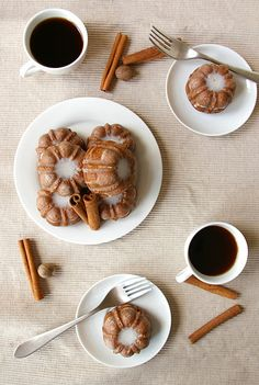 gingerbread bundts with cinnamon glaze.