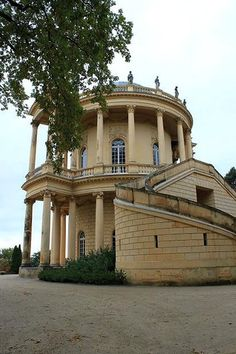 The Belvedere on Klausberg hill was the last construction that Frederick the Great had built. The word 'Belvedere' means a pretty view, its name was chosen because of the nice view the building offered over Park Sanssouci. Architect Georg Unger designed the Belvedere between 1770 and 1772. It was built on a round floor plan, the pavillon is surrounded by two levels of columns. The dome at its top is decorated with figures of some divinities. Park Sanssouci, Potsdam, Germany.