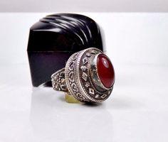 Mid Century Modern Sterling Silver 925 ISRAEL Carnelian Gemstone Handmade Ring #Studio #Statement