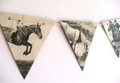 Vintage HORSES - paper bunting, B & W party decoration, horse decor