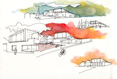 MSV_Touristic Harbour_Boatyard. Ink sketches with watercolour.