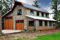 Pole Barn Garage, Pole Barn House Plans, Garage House Plans, Barn Plans, Car Garage, Metal Barn Homes, Metal Building Homes, Pole Barn Homes, Building A House
