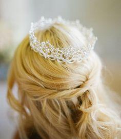 Silver Full Bridal Crown Scroll Swarovski by EdenLuxeBridal