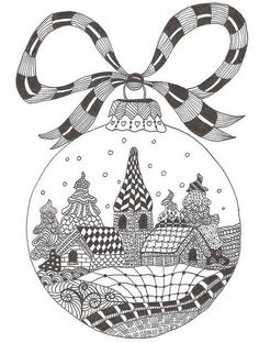 Zentangle made by Mariska den Boer 66 - small christmasgreetingcard by Maria CS Zentangle Drawings, Doodles Zentangles, Doodle Drawings, Doodle Art, Zendoodle, Mandala Coloring, Colouring Pages, Adult Coloring Pages, Coloring Books