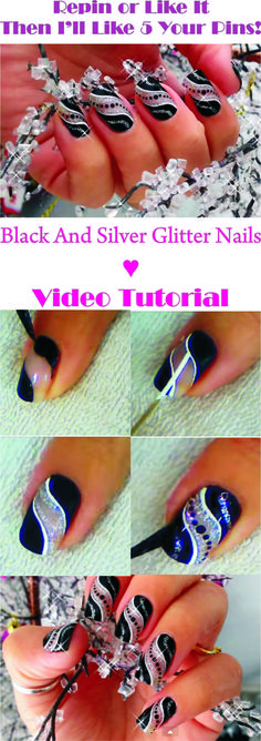 Repin Or Like It - And I'll Like 5 Your Last Pins!!! ♥ Super Easy Party Nail Art | Black And Silver Glitter Nails ♥ Step By Step Video Tutorial in http://makeupnailartideas.blogspot.com/2015/02/super-easy-party-nail-art-black-and_7.html Nail Design, Nail Art, Nail Salon, Irvine, Newport Beach