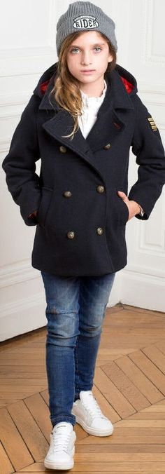 SALE !!! ZADIG & VOLTAIRE Girls Designer Navy Blue Wool Coat. Fab mini me navy blue broadcloth wool coat inspired by the Zadig & Voltaire Adult Collection. With military style gold button fastenings, this reefer coat is perfect for keeping out the chill. Now on Sale. #kidsfashion #fashionkids #girlsdresses #childrensclothing #girlsclothes #girlsclothing #girlsfashion #minime #mommyandme