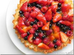 Coconut and Berry Passover Tart. Gluten-free and dairy-free via @cakeduchess