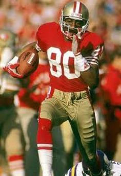 Jerry Rice, awfully close to the perfect NFL player. How do you choose a Pin to represent all that he was/is? Especially if you aren't a Niners fan? Just appreciate the gentleman and phenomenal athlete. Such fun to watch play and to hear interviewed. Jerry Rice, Nfl 49ers, Nfl Football, School Football, Football Cards, Baseball, 49ers Players, Football Players, American Athletes