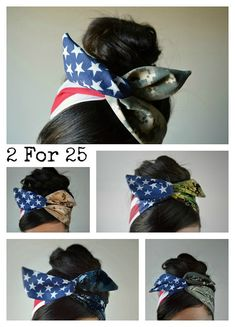 2 for 25 American Camouflage Wire Dolly bow, American flag head band, hair accessory made with navy blue and white stars mixed Digital Camo. Sewn