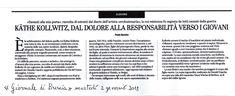 Sul Giornale di #Brescia del 2 gennaio 2018 la recensione di Käthe Kollwitz, Davanti alla mia porta, #ViadelVentoedizioni 2017