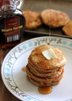 Sweet Potato Pancakes with chai spices! These are thick, fluffy and healthy!