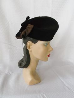 30s 40s Vintage Brown Tilt Hat with Ruffle by MyVintageHatShop, $75.00