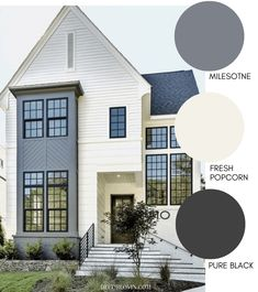 Modern Exterior Paint Colors A Modern Farmhouse Exterio. Modern Exterior Paint Colors A Modern Farmhouse Exterior with light beige Exterior Paint Colors For House, Paint Colors For Home, Beige House Exterior, Grey Homes Exterior, Diy Exterior House Painting, Home Colors, Outdoor Paint Colors, Exterior Paint Combinations, Exterior Color Palette