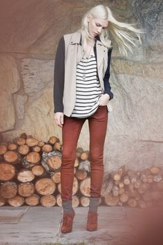 club monaco // stripped shirt // dark red jeans // nude vest