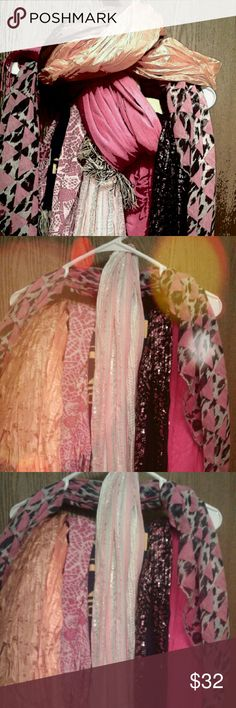 💗Bundle of 7 Scarves 💗 💚7 Scarves for sale. 💙Loop, straight,  fringed , silky, sport,  new and used.💗 Please feel free to ask questions and/or to make an offer.  💛All items come from a smoke free and pet free home.❤ Accessories Scarves & Wraps