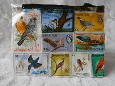 Postage Stamp Purse - Birds