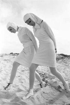 A nun and a nurse?  1960s Harper's Bazaar fashion image