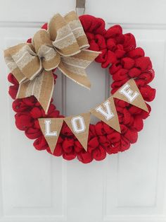 Valentine Wreath Valentine Burlap Wreath Valentine Red