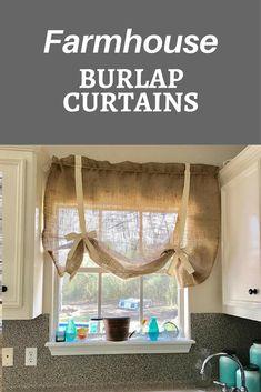 Simple burlap curtains for farmhouse curtains #ad #farmhousecurtains #farmhouse #burlapcurtains #farmhousekitchen
