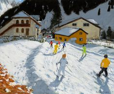 Today's advent artwork is 'Skiing Back to Val Gardena,Italy', oil on canvas, 20 x x by Andrew Macara - Royal Society Of Arts, Royal Academy Of Arts, Museum Art Gallery, Fine Art Gallery, Nottingham Castle, In The Zoo, Unique Paintings, Light Of Life, New Art