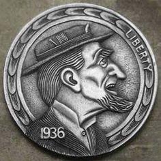 Hobo Nickel by Steve Cox Hobo Nickel, Coin Art, Sculpture Art, Hand Carved, Coins, Carving, Scrapbook, Buffalo, Repurposed