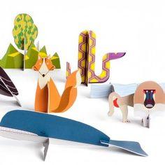 Kidsonroof book of recycled cardboard animal models