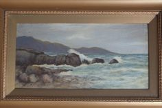 Early 1900s Original Coastal Landscape Oil Painting By C Henderson