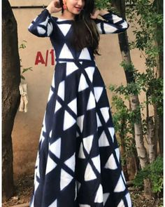 The Secret Label Navy Blue Cotton Printed Anarkali Kurti