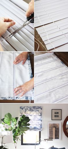 Easy to follow Roman Shades tutorial using vinyl mini blinds and Rebecca Atwood printed fabric. #DIY